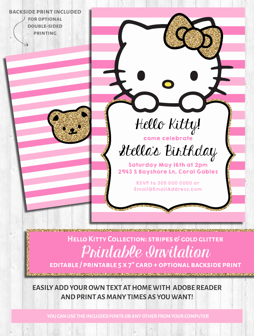 Hello Kitty Party Invite Beautiful Hello Kitty Party Invitations Pink & Gold Glitter In 2019