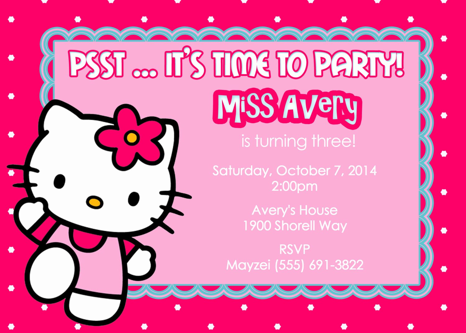 Hello Kitty Party Invite Beautiful Invitation Cards
