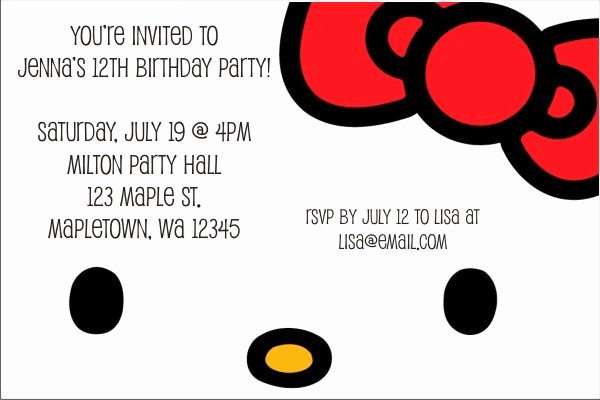 Hello Kitty Party Invite Best Of Hello Kitty Invitations Classic Face Personalized Party