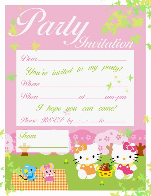 Hello Kitty Party Invite Elegant Park or Pic Nic Party Invitation Featuring Hello Kitty