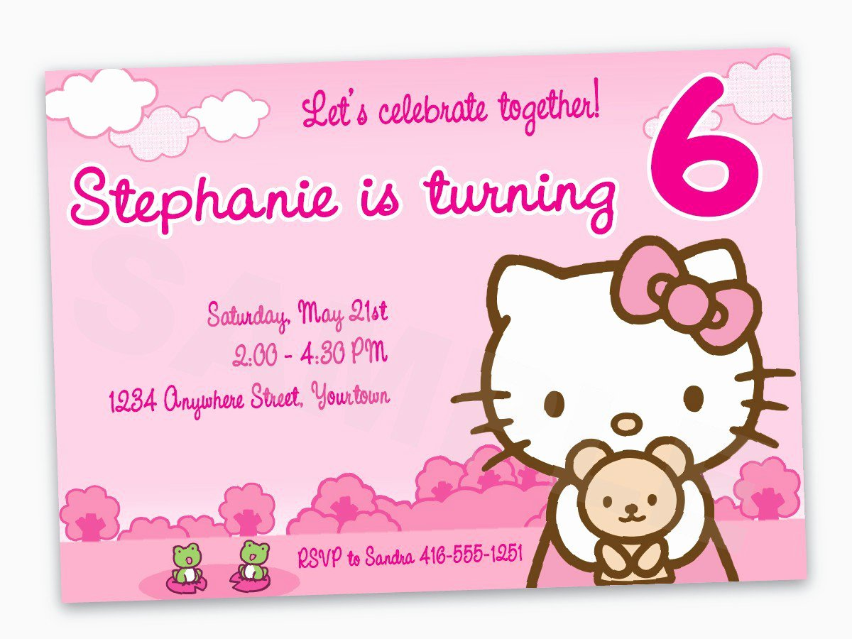 Hello Kitty Party Invite Inspirational Hello Kitty Birthday Invitation Wording