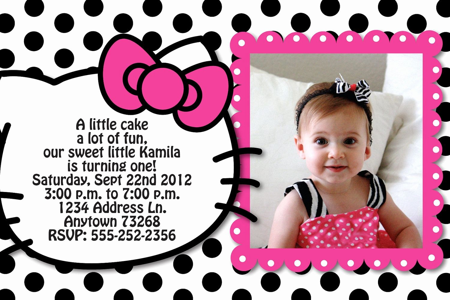 Hello Kitty Party Invite Luxury Hello Kitty Inspired Polka Dot Birthday Party Custom