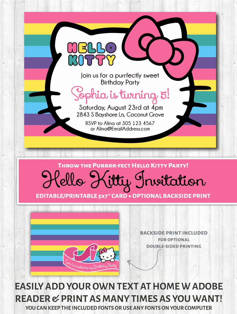 Hello Kitty Party Invite New Hello Kitty Printable Invitation Rainbow – Wonderbash
