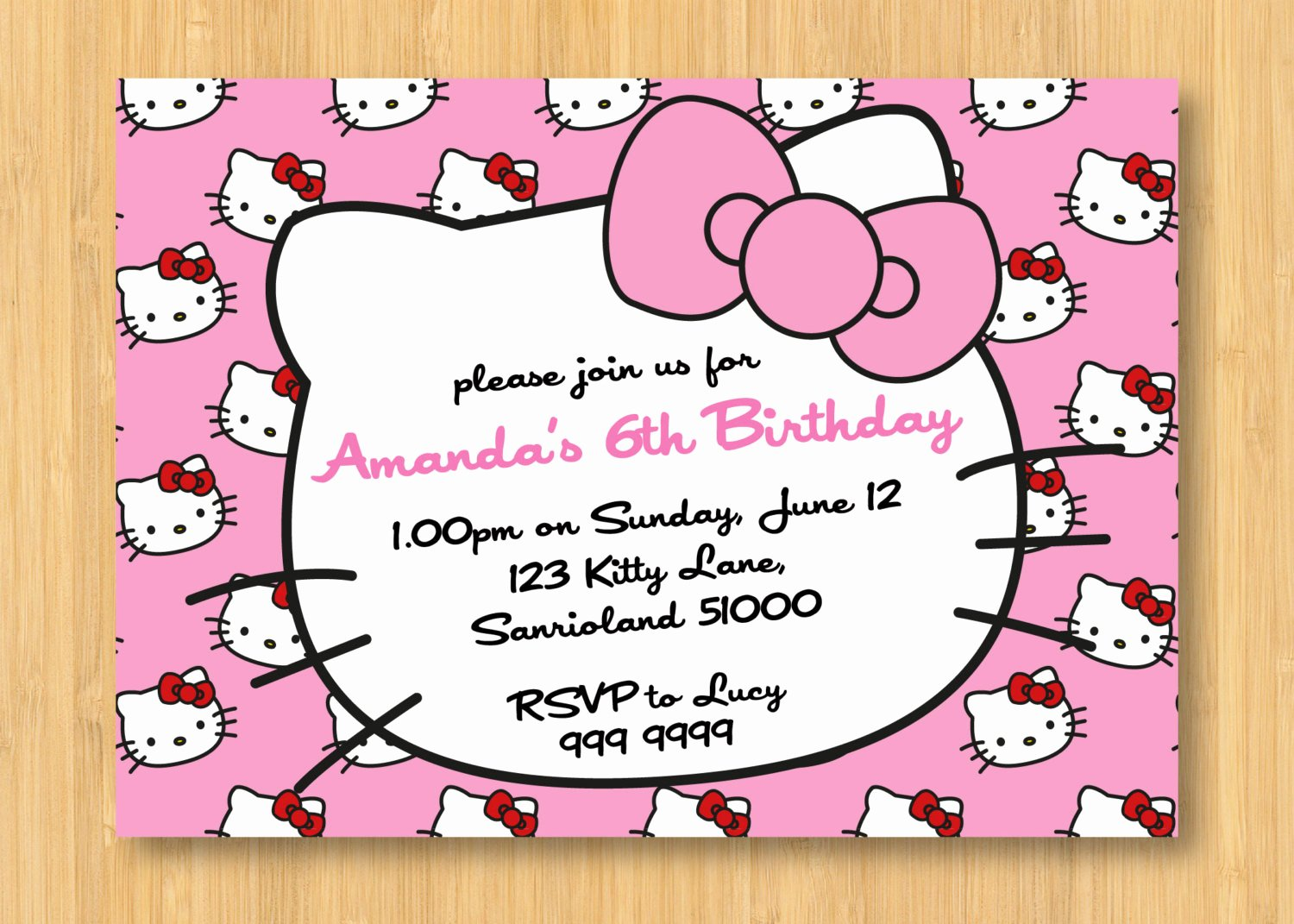 Hello Kitty Party Invite Unique Hello Kitty Printable Birthday Invitations Template
