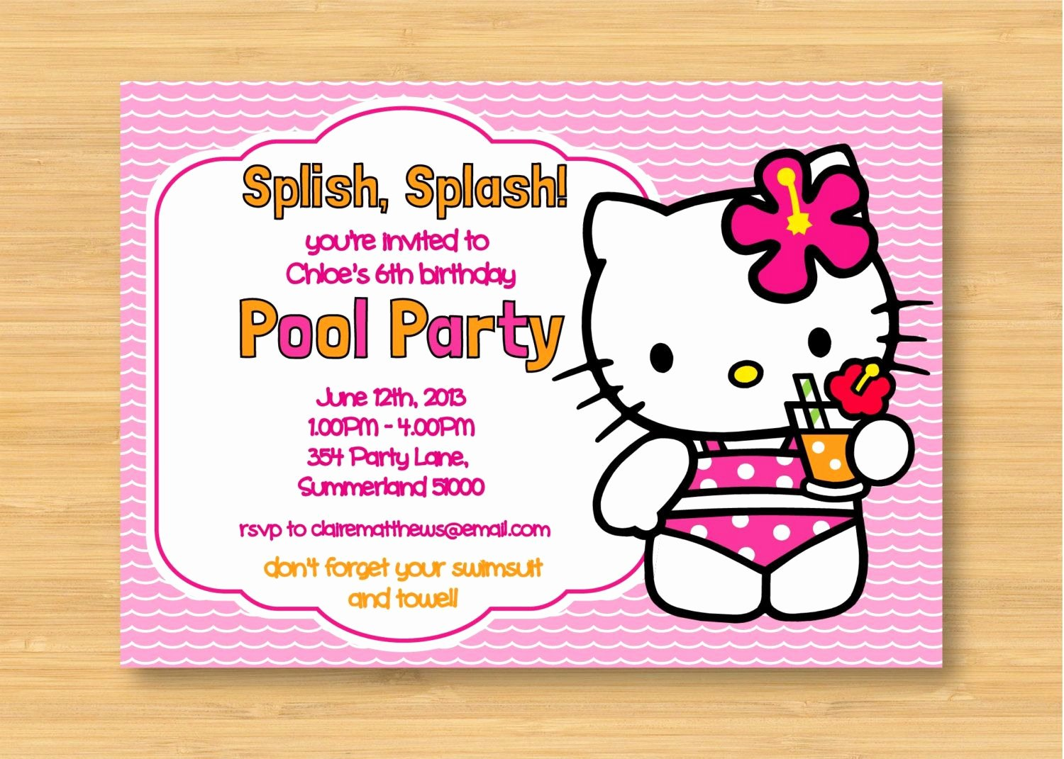 Hello Kitty Party Invite Unique Hello Kitty Printable Pool Party Birthday Invitation