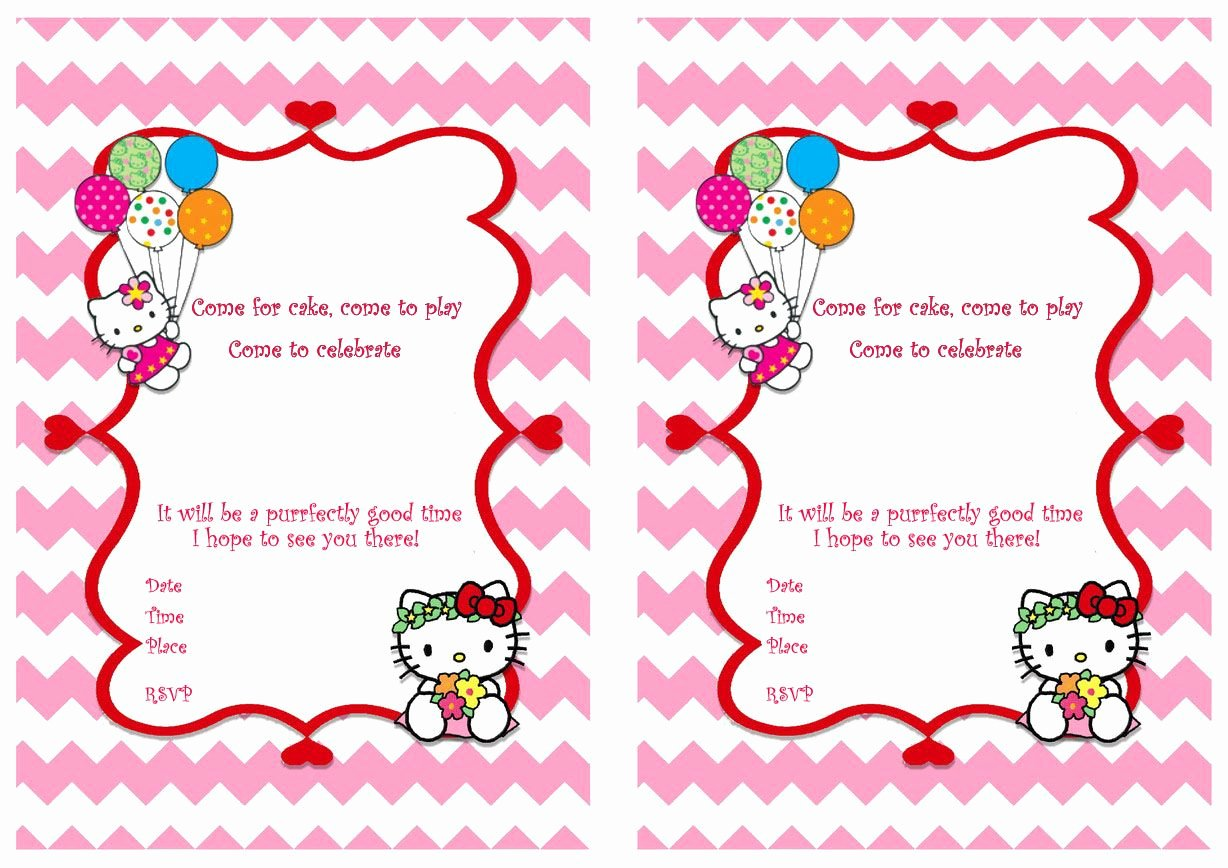Hello Kitty Printable Invitations Awesome Hello Kitty Free Printable Birthday Party Invitations