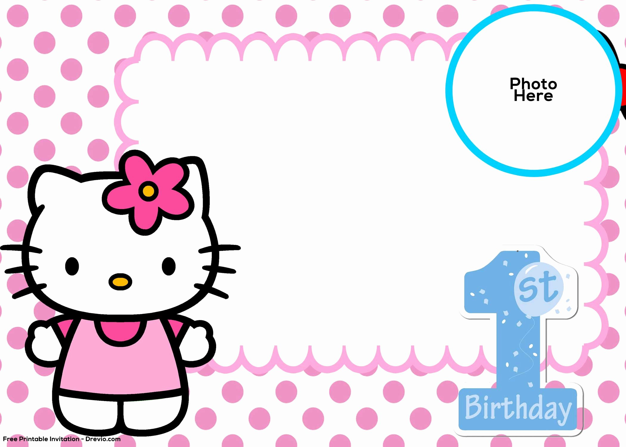 Hello Kitty Printable Invitations Luxury Free Hello Kitty 1st Birthday Invitation Template