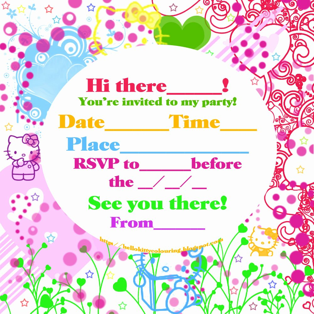 Hello Kitty Printable Invitations Unique Hello Kitty Coloring Pages