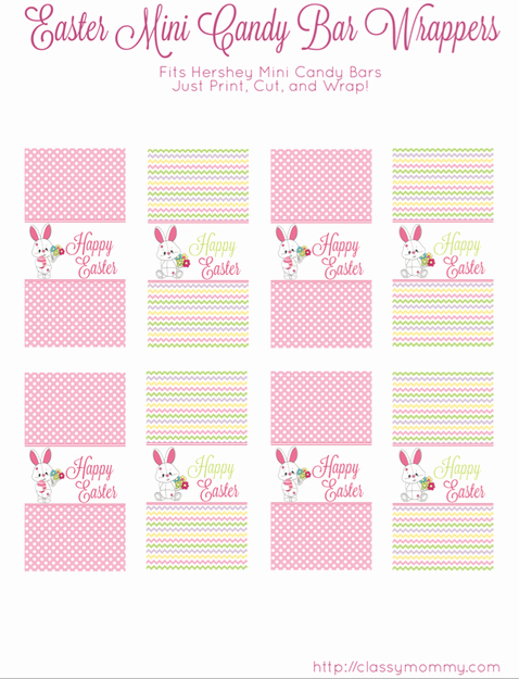 Hershey Miniatures Wrappers Template Free Inspirational Free Printable Easter Candy Bar Wrappers