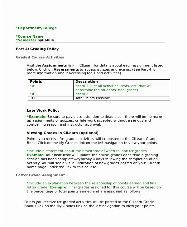 High School Course Syllabus Template Beautiful Syllabus Template 7 Free Word Documents Download