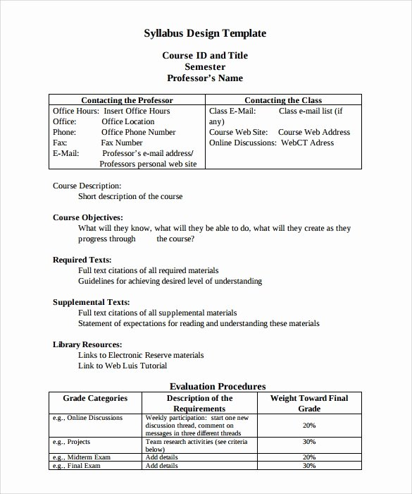 High School Course Syllabus Template Best Of Free 7 Sample Syllabus Templates In Pdf