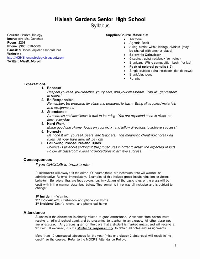 High School Course Syllabus Template Lovely Honors Biology Course Syllabus