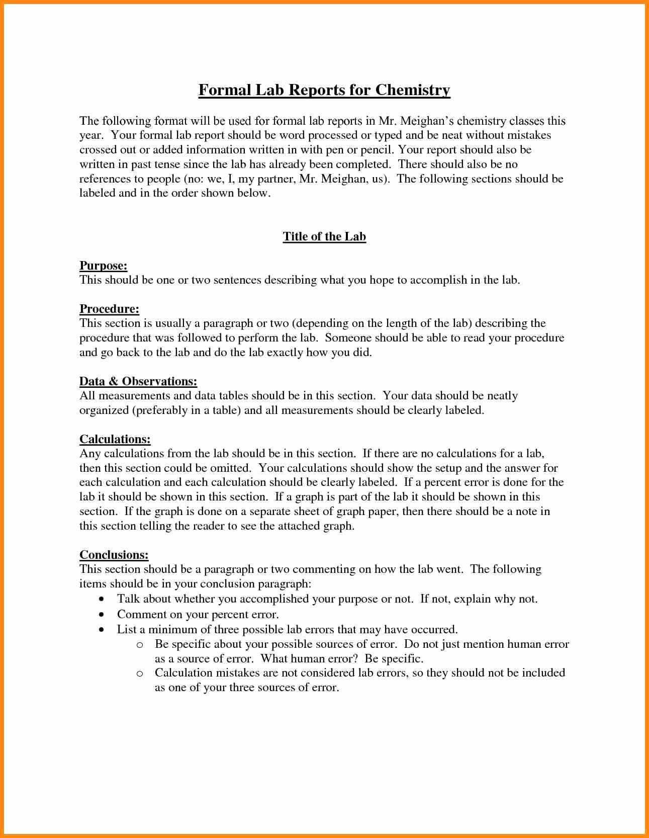 High School Lab Report Template Lovely Chemistry Lab Report Template