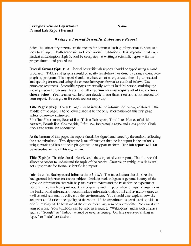 High School Lab Report Template Luxury 7 8 Science Reports format