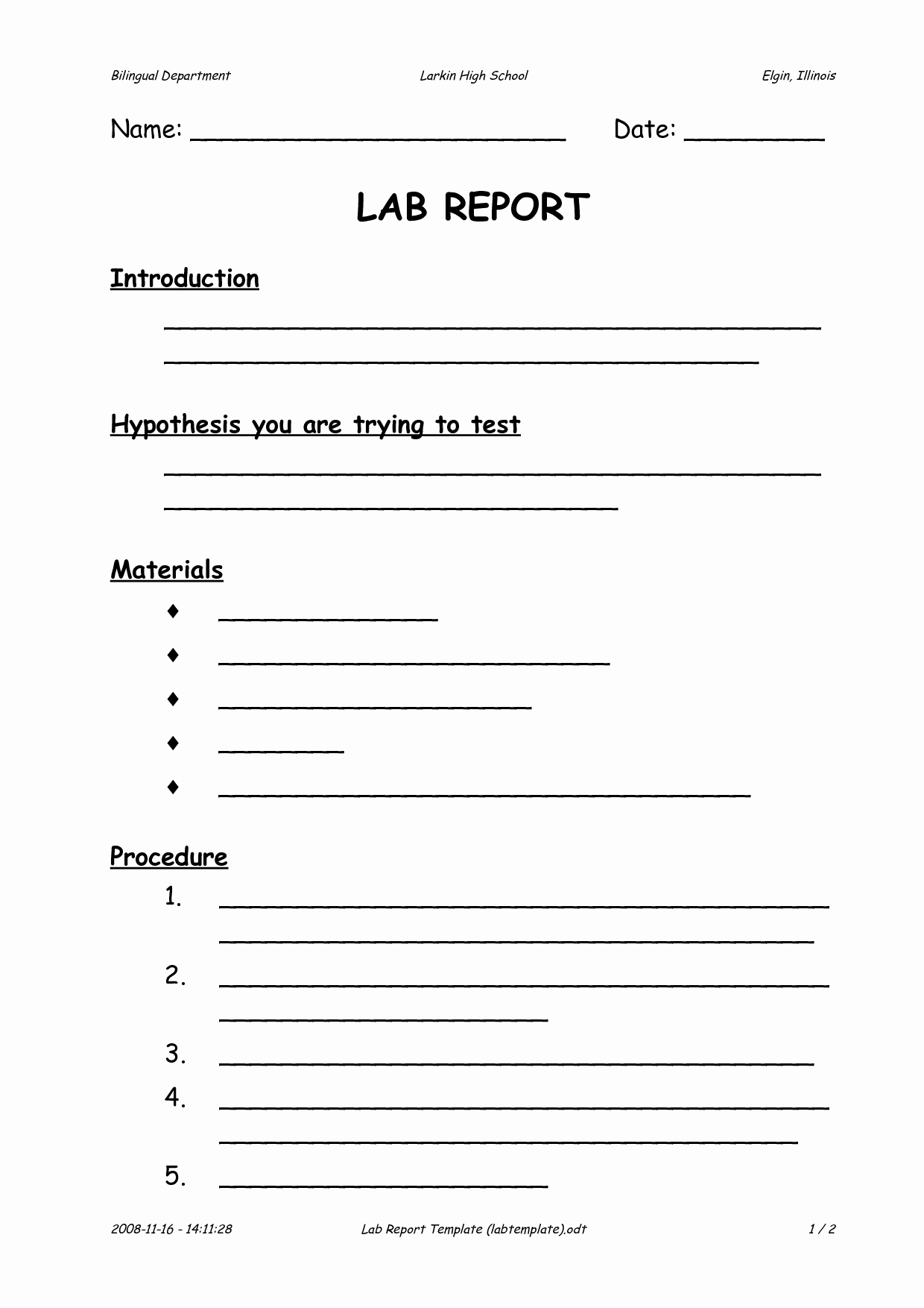High School Lab Report Template Luxury Lab Report format High School How to Write A Lab Report