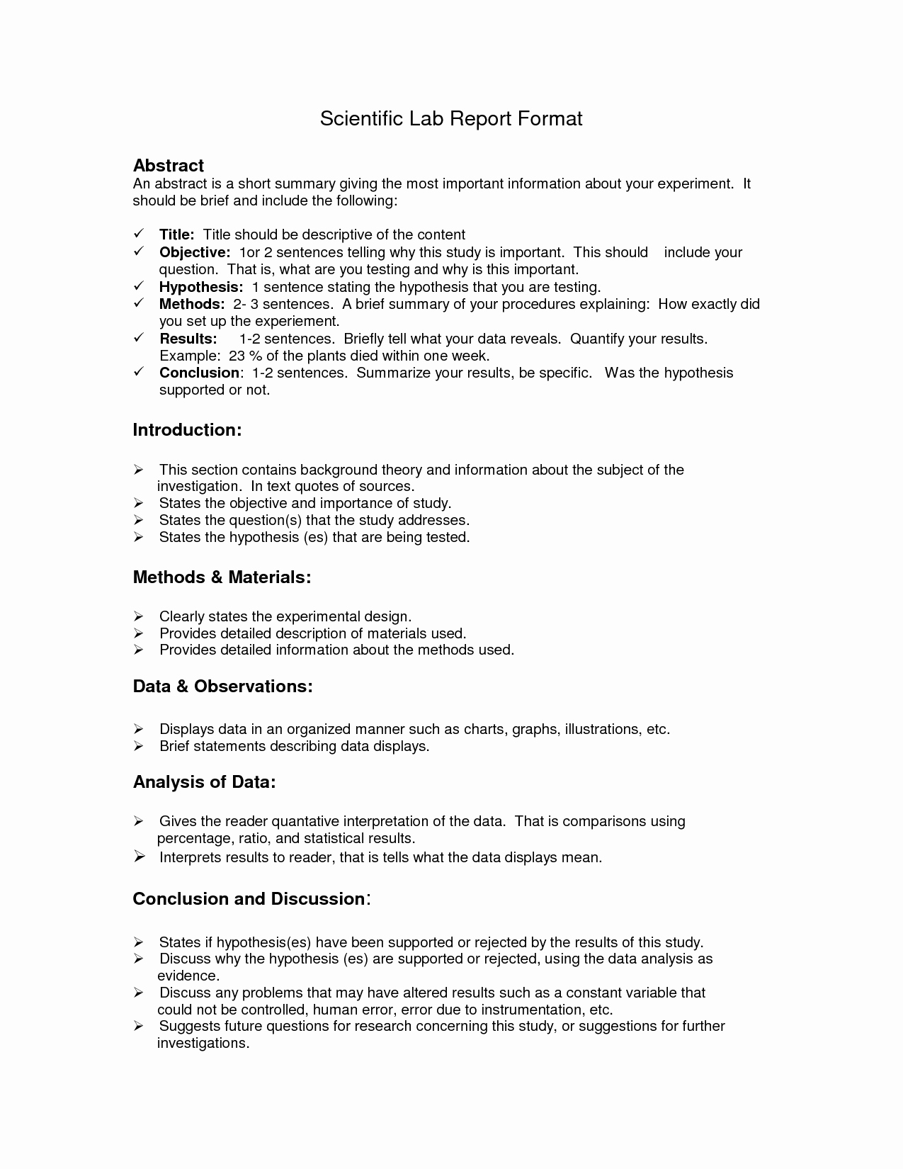 High School Lab Report Template New Lab Report format Doc
