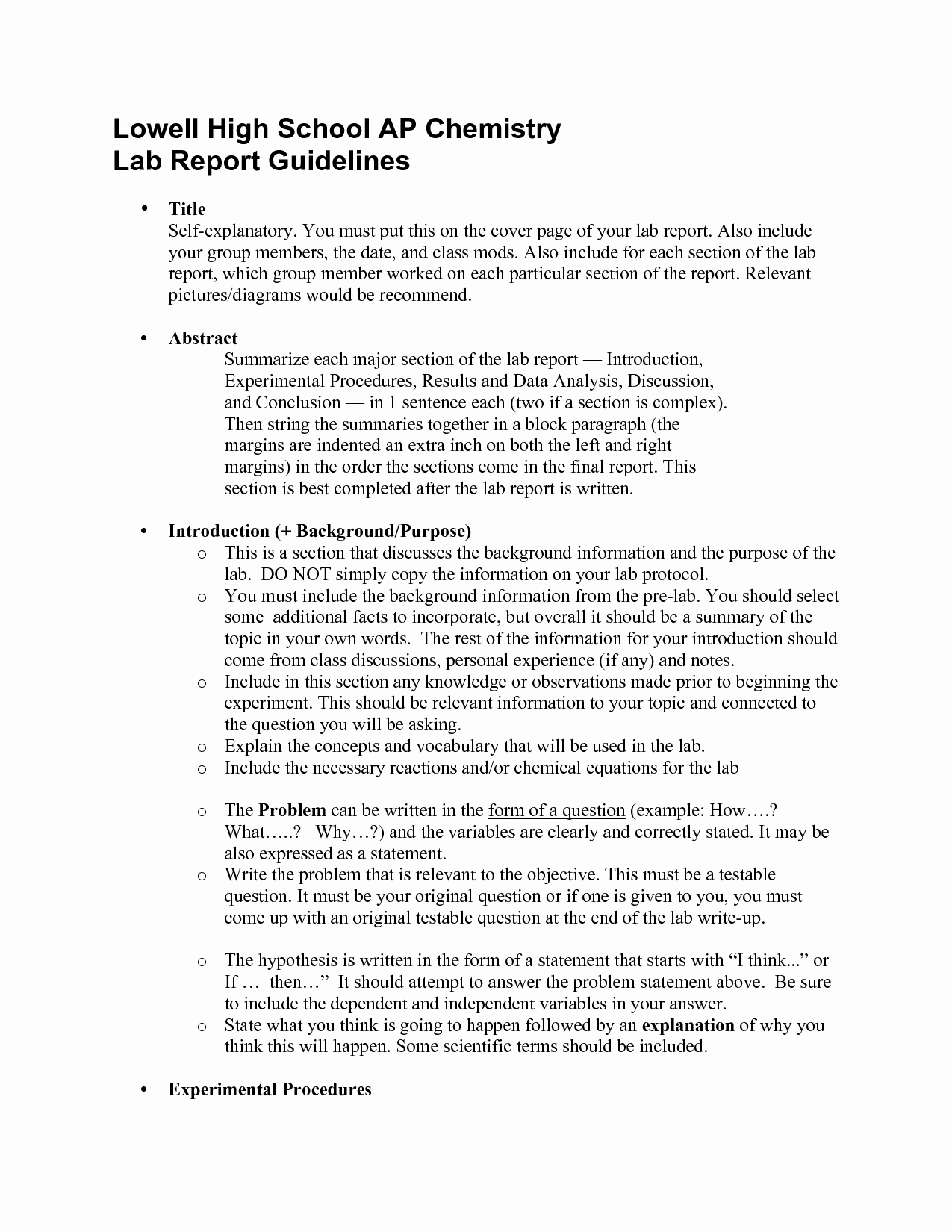High School Lab Report Template New Lab Sample Science Lab Report by Cheryl Randall Example