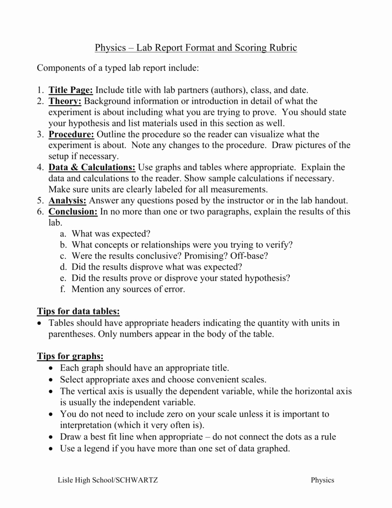 High School Lab Report Template Unique Honors Physics – Lab Report format