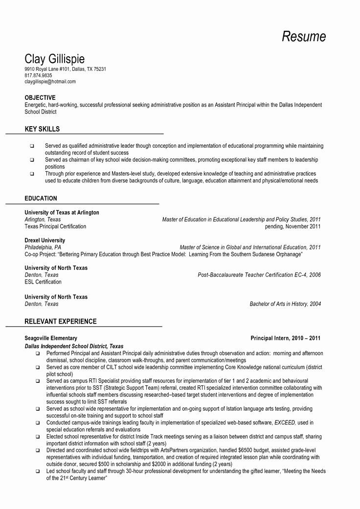 High School Principal Resume Inspirational 10 Best Images About Resume Samples On Pinterest