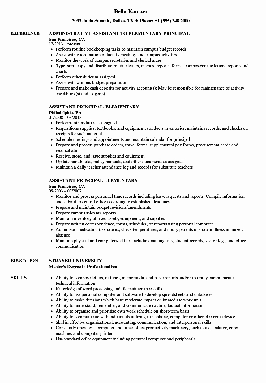 High School Principal Resume Inspirational Elementary Principal Resume Samples