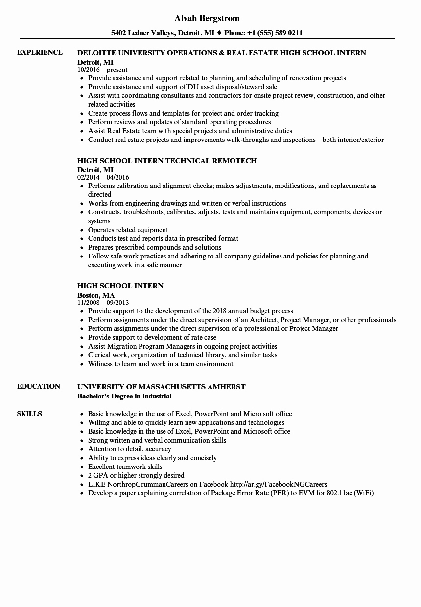 High School Principal Resume Inspirational High School Intern Resume Samples