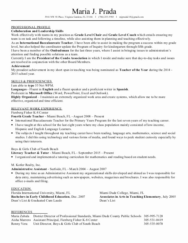 High School Principal Resume Inspirational Maria Prada S Resume 2016 for In