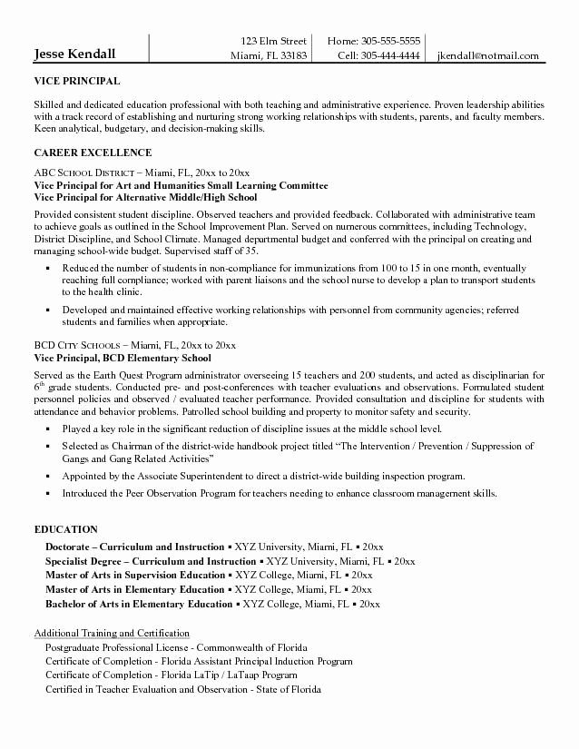 High School Principal Resume Lovely Entry Level assistant Principal Resume Templates