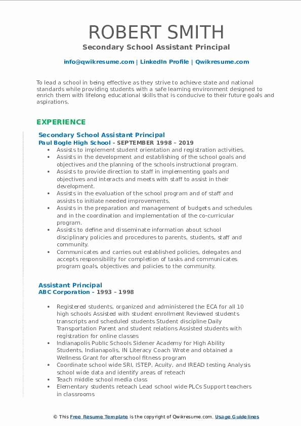 High School Principal Resume Luxury assistant Principal Resume Samples