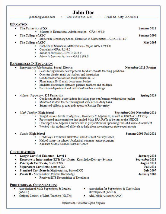 High School Principal Resume Luxury School Administrator Resume Example Adjunct Supervisor