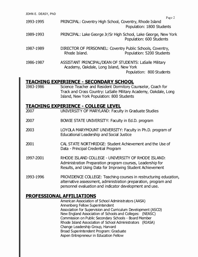 High School Principal Resume New Sup Resumes