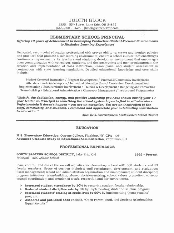 High School Principal Resume Unique 11 Best Resume Samples Images On Pinterest