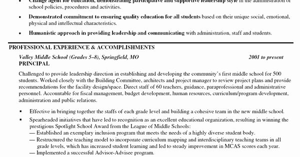 High School Principal Resume Unique Principal Middle School Resume Books
