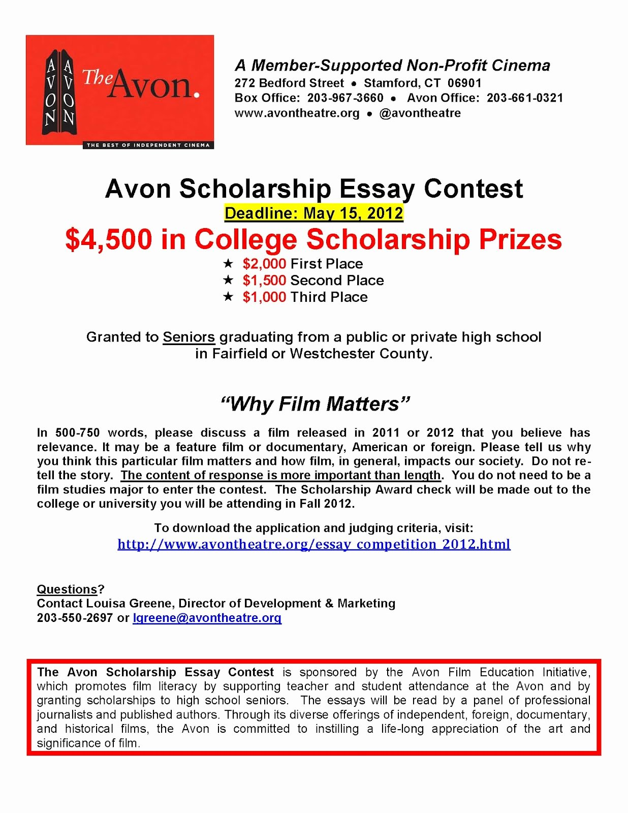 High School Scholarship Essay Examples Beautiful Stamford Downtown events Avon Film Essay Contest