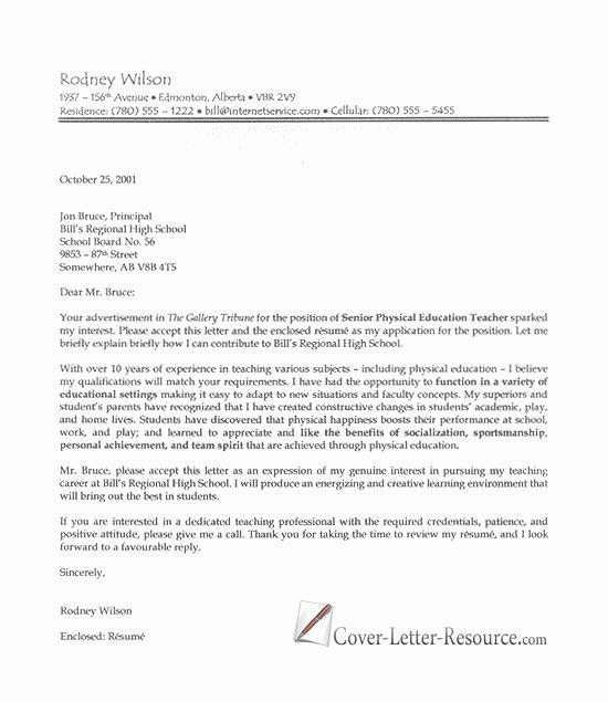 High School Teacher Cover Letter Elegant Professional Teacher Cover Letter
