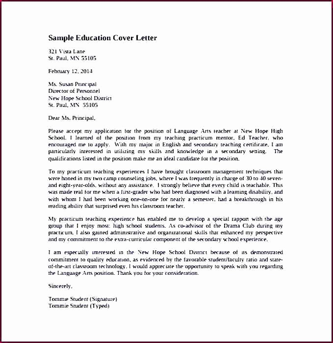 High School Teacher Cover Letter Elegant Sample Cover Letter for High School Art Teacher Art