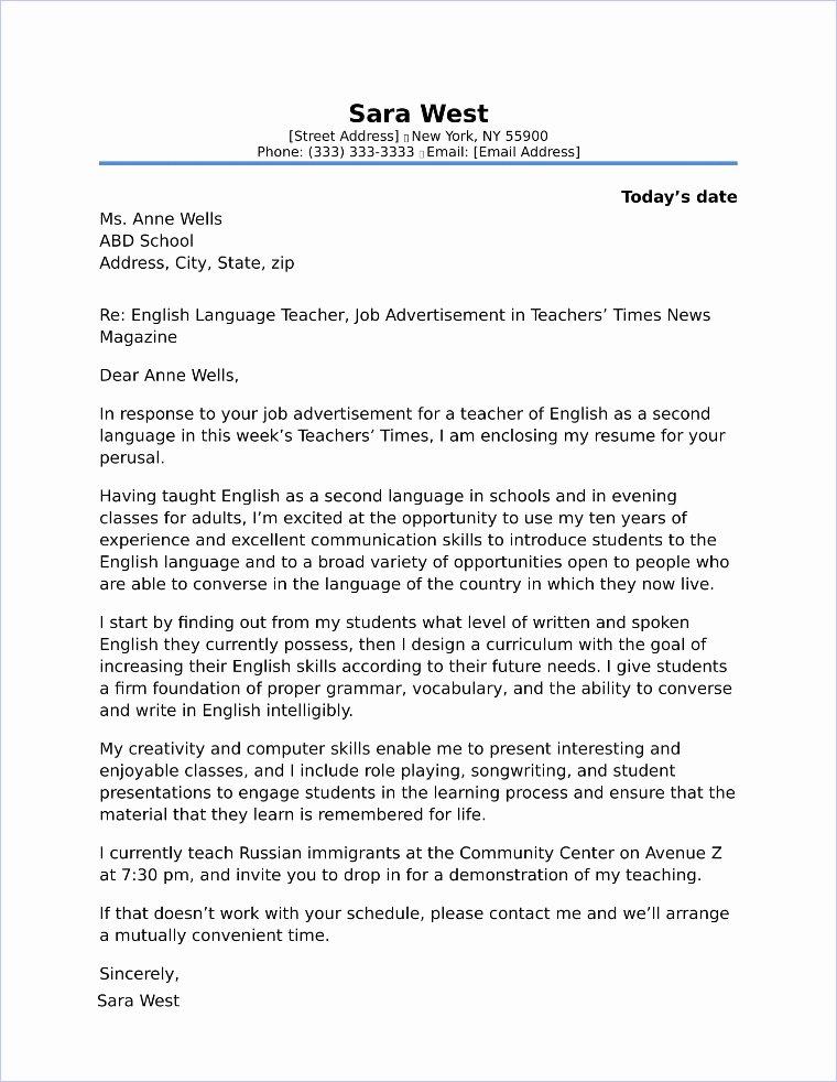 High School Teacher Cover Letter Fresh High School Teacher Cover Letter Sample