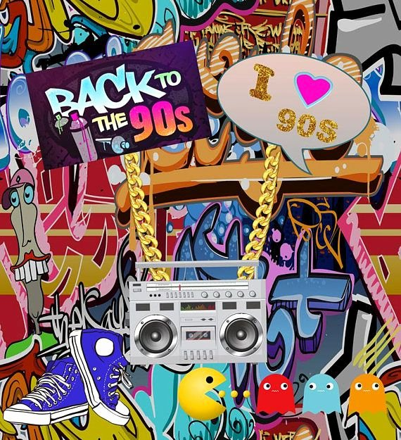 Hip Hop Graffiti Backdrop Fresh Back to the 90s Graffiti Wall Graphy Backdrops