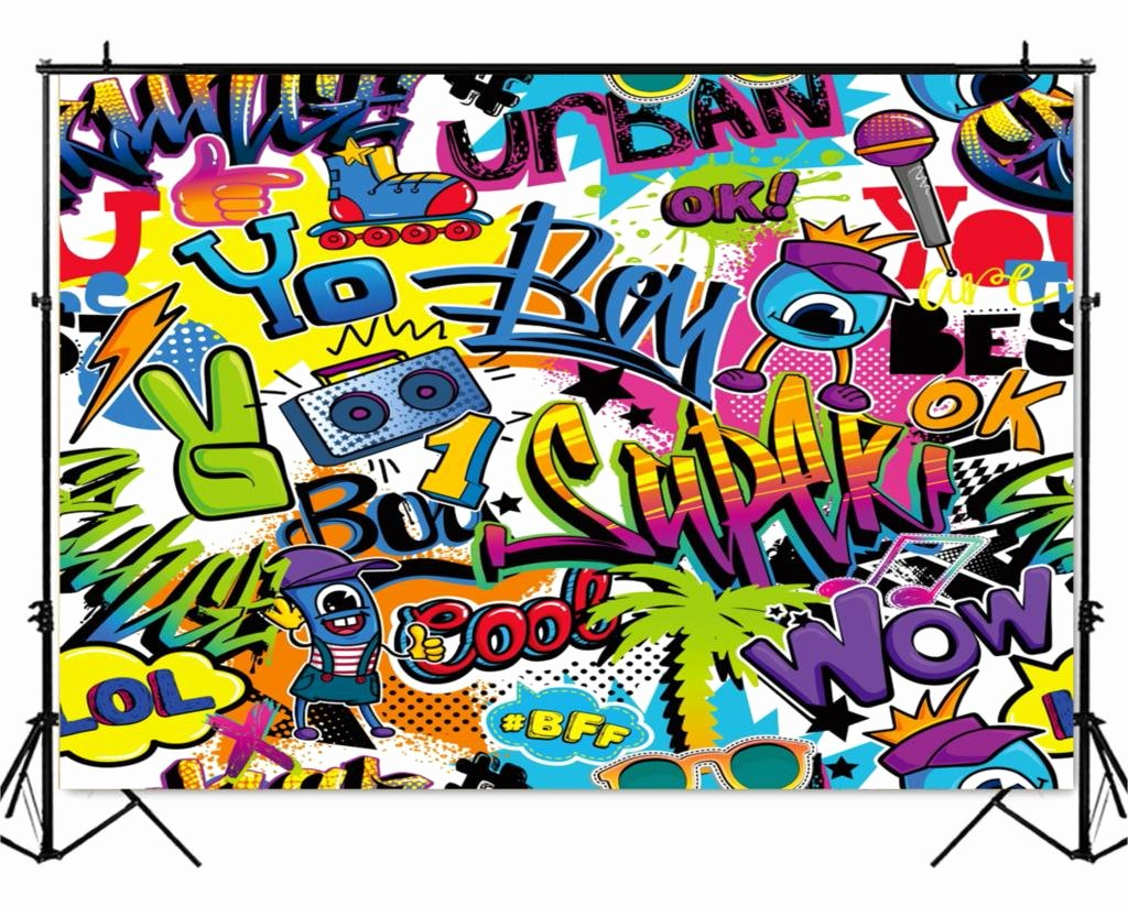 Hip Hop Graffiti Backdrop Luxury Hip Hop Graffiti Wall Backdrop 90 S themed Party