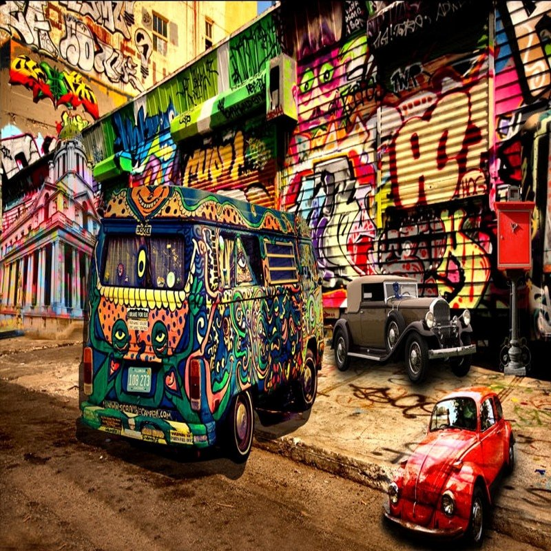 Hip Hop Graffiti Backdrop Luxury Photo Wallpaper 3d Hip Hop Style Graffiti Bus Mural