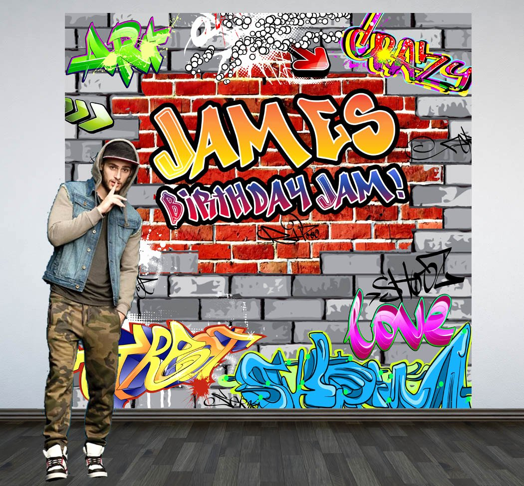 Hip Hop Graffiti Backdrop New Graffiti Brick Party Personalized Backdrop 90 S