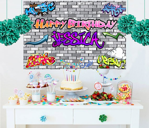 Hip Hop Graffiti Backdrop Unique Hip Hop Personalized Backdrop Graffiti Cake Table Backdrop