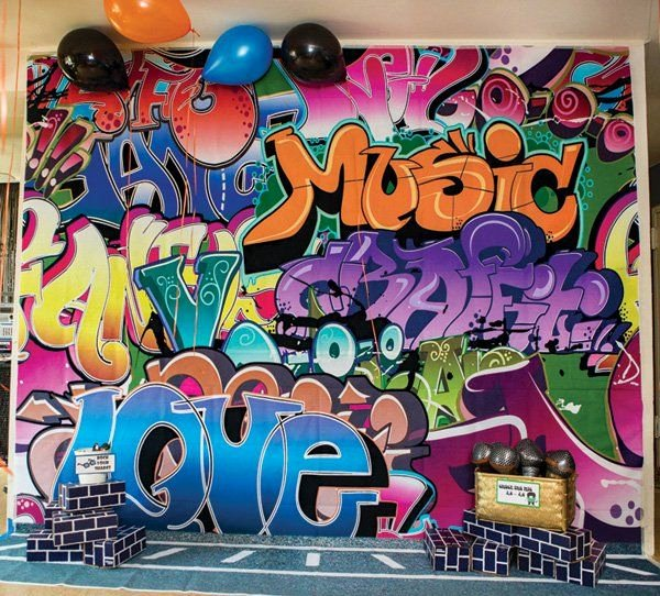 Hip Hop Graffiti Backdrop Unique Rockin Old School Hip Hop Dance Birthday Party