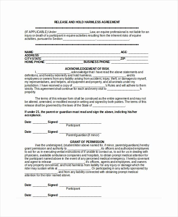 Hold Harmless Agreement Sample Wording Awesome 14 Hold Harmless Agreements Free Sample Example