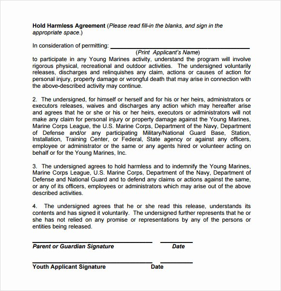 Hold Harmless Agreement Sample Wording Awesome Hold Harmless Agreement 9 Free Samples Examples format