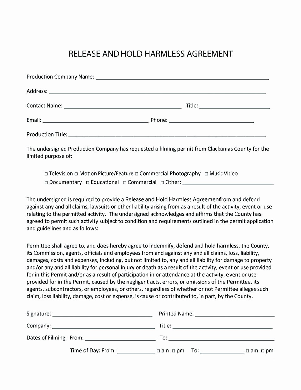 Hold Harmless Agreement Sample Wording Awesome Making Hold Harmless Agreement Template for Different Purposes