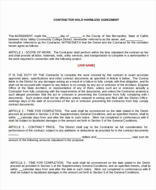 Hold Harmless Agreement Sample Wording Beautiful 14 Hold Harmless Agreements Free Sample Example