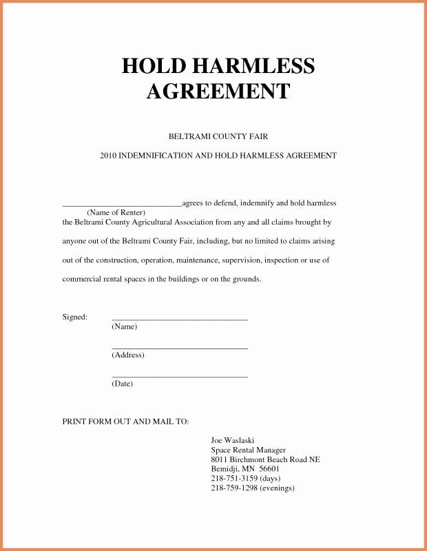 Hold Harmless Agreement Sample Wording Beautiful Hold Harmless form