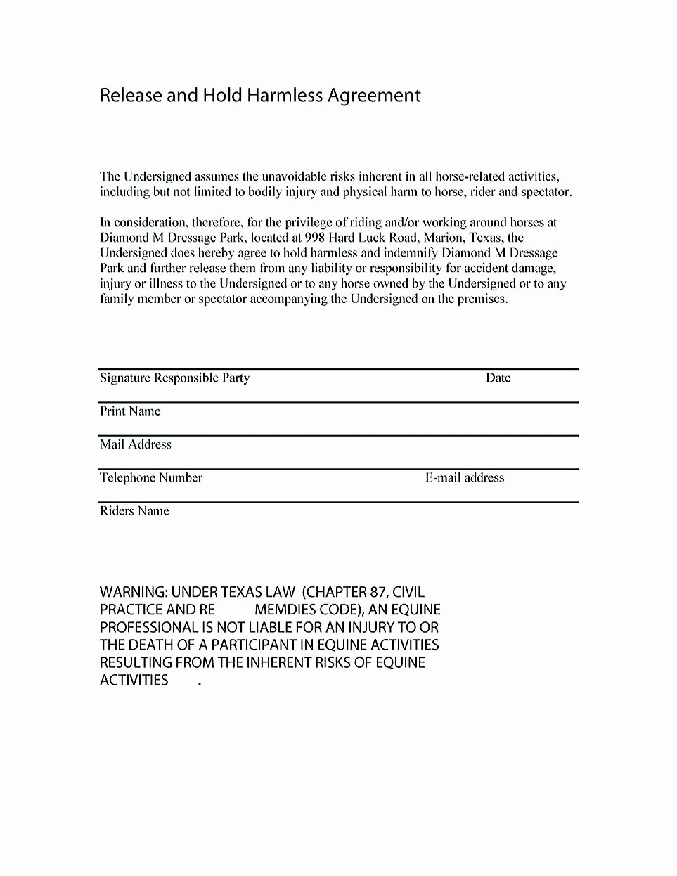 Hold Harmless Agreement Sample Wording Beautiful Making Hold Harmless Agreement Template for Different Purposes