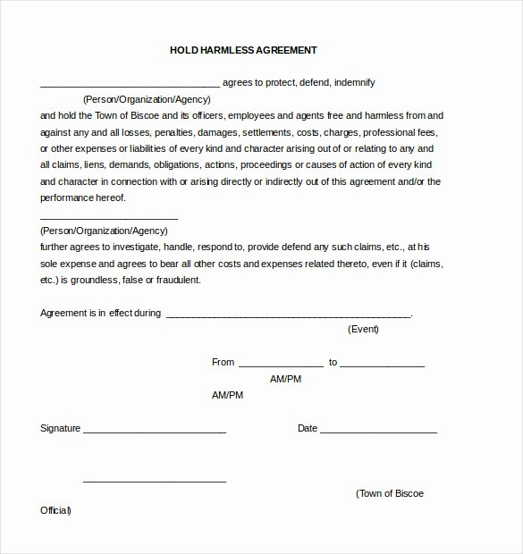 Hold Harmless Agreement Sample Wording Fresh 11 Hold Harmless Agreement Templates– Free Sample