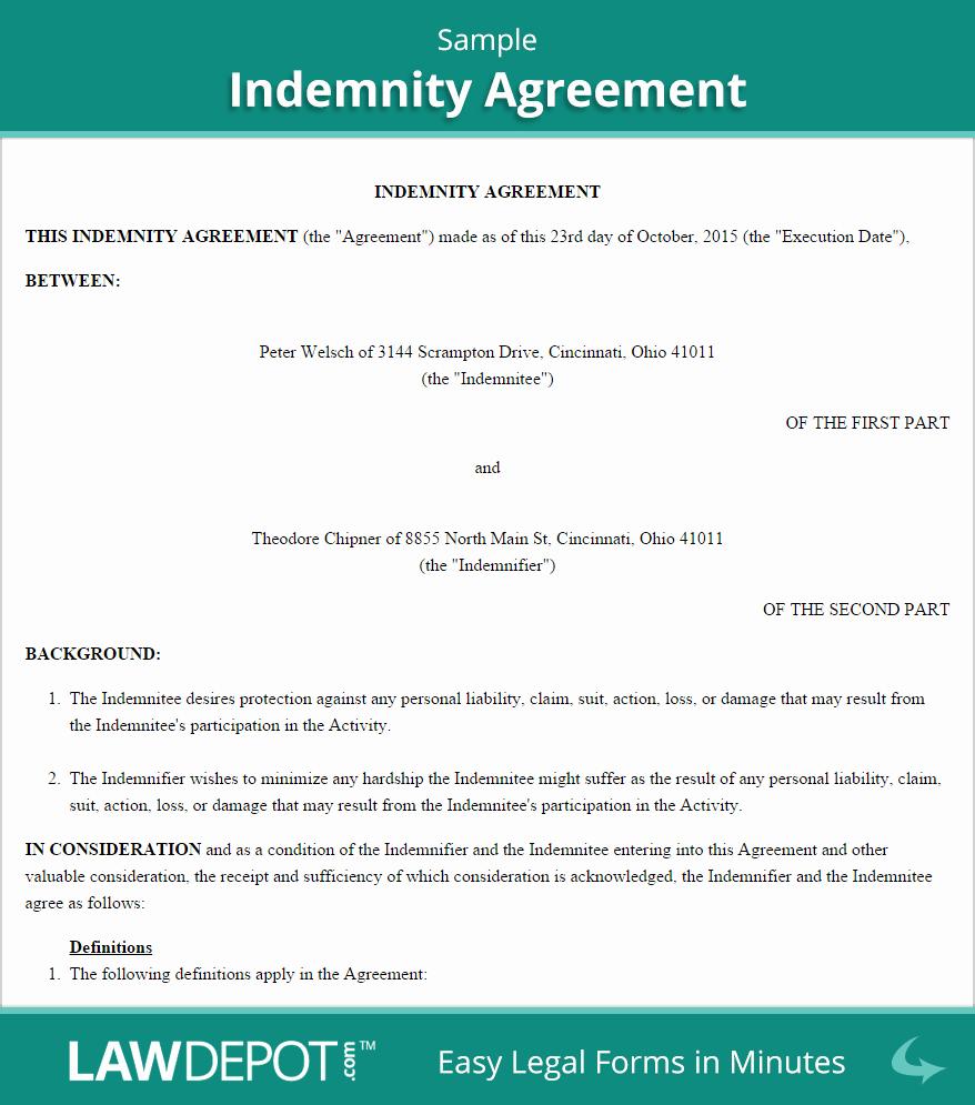Hold Harmless Agreement Sample Wording Inspirational Hold Harmless Agreement Template Us